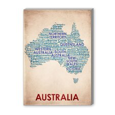 Australia Textual Art on Canvas