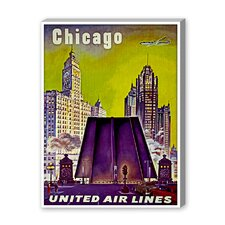 Chicago United Airlines Vintage Advertisement on Canvas
