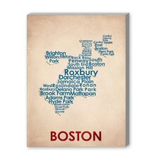 Boston Textual Art on Canvas