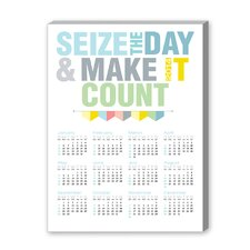 Calendar Seize the Day Textual Art on Canvas