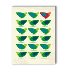 Green Birds Illustration Canvas Art