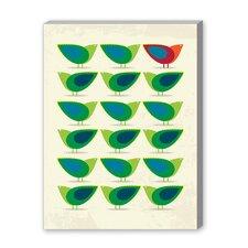 Green Birds Illustration Graphic Art on Canvas