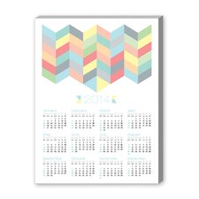 Calendar Chevron Pattern Graphic Art on Canvas