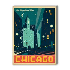 Chicago: Modern Magnificent Mile Vintage Advertisement on Canvas