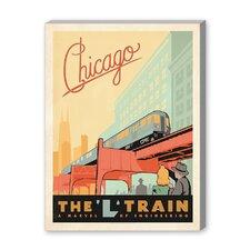Chicago L Train Vintage Advertisement on Canvas