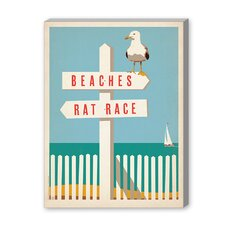 Coastal Beach - Rat Race Vintage Advertisement on Canvas