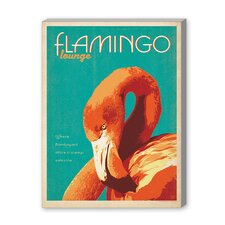 Coastal Flamingo Lounge Vintage Advertisement on Canvas