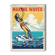 Coastal Making Waves Vintage Advertisement on Canvas