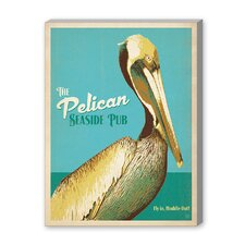 Coastal Pelican Pub Vintage Advertisement on Canvas