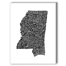 Mississippi Textual Art on Canvas