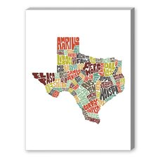 Texas Textual Art on Canvas in Color
