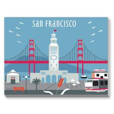 San Francisco Ferry Building Graphic Art on Canvas
