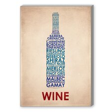 Wine Textual Art on Canvas