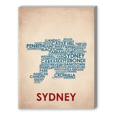 Sydney Textual Art on Canvas