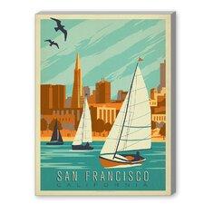 San Francisco Sailboats Graphic Art on Canvas