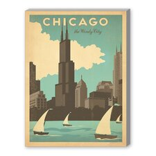 World Travel 'Chicago Windy City' by Joel Anderson Vintage Advertisement