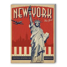 World Travel 'NYC - Liberty Skyline' by Joel Anderson Vintage Advertisement