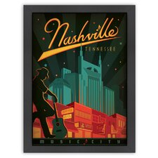 World Travel 'Nashville Broadway, Music City' by Joel Anderson Vintage Advertisement