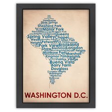 Typography Maps Washington DC Textual Art