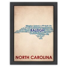 Typography Maps North Carolina Poster