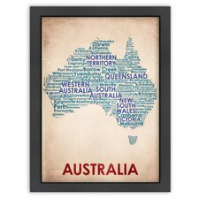 Typography Maps Australia Textual Art