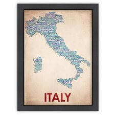 Typography Maps Italy Textual Art