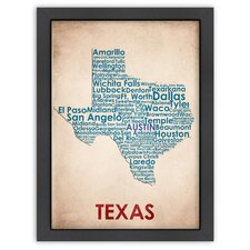 Typography Maps Texas Poster