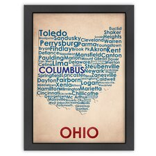 Typography Maps Ohio Poster