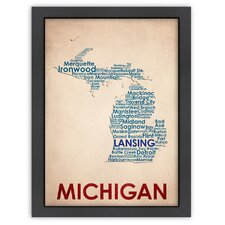 Typography Maps Michigan Poster