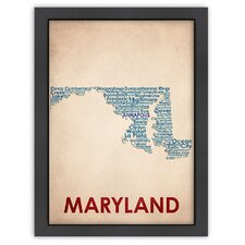 Typography Maps Maryland Textual Art
