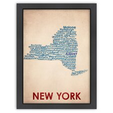 Typography Maps New York Poster Textual Art