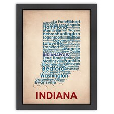 Typography Maps Indiana Poster