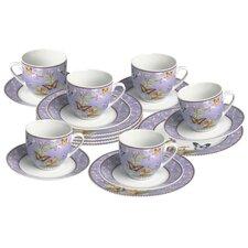 "18-tlg. Kaffee-Set ""Papillon"" aus Porzellan"