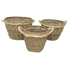 Round Rope Handled Log Basket 3 Piece Set
