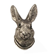 Curiosities Hare Head Knob in Distressed Pewter Matte