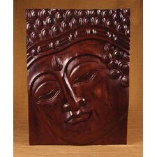 <strong>Miami Mumbai</strong> Wood Panels Buddha with Rectangle Band Wall Décor
