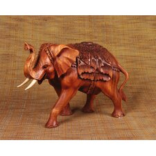 Wood Carving Elephant Happiness Figurine
