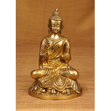 Brass Series Buddha Statuette on Lotus Figurine