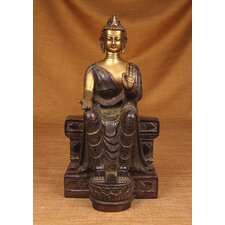 <strong>Miami Mumbai</strong> Brass Series Buddha Sitting On Tall Throne Figurine