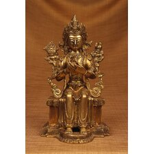 Brass Series Buddha Sitting on Throne Figurine