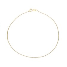 14k .6mm Solid Polished Cable Chain Anklet - Spring Ring