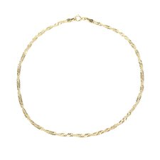 14k 2.10mm Singapore Anklet - Spring Ring
