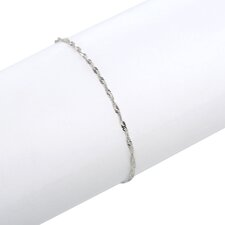14K White-Gold Spring Ring Singapore Chain Bracelet