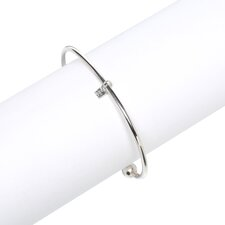 Sterling Silver 2mm Mens Cuff Bracelet With Ball Ends