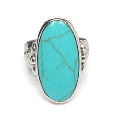 Sterling Silver Antiqued Oval Turquoise Ring