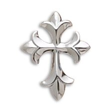 <strong>Jewelryweb</strong> Rhodium Plated Fleur-de-lis Design Cross Slide Measures 28x22mmCharm