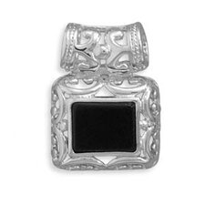 Sterling Silver Rectangular Black Onyx Slide With Filigree Sides Bail Slide Measures 24x18mmCharm