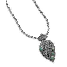 Sterling Silver 16 Inch+2 Inch Extention Oxidized Bead Necklace With Turquoise Pendant