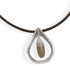 Sterling Silver 18 Inch Dark Brown Braided Leather Necklace Textured Open Pear Faceted Quartz Drop