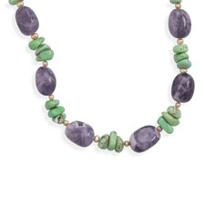 Sterling Silver 16 Inch+ 2 InchExtention Amethyst and Multistone Necklace